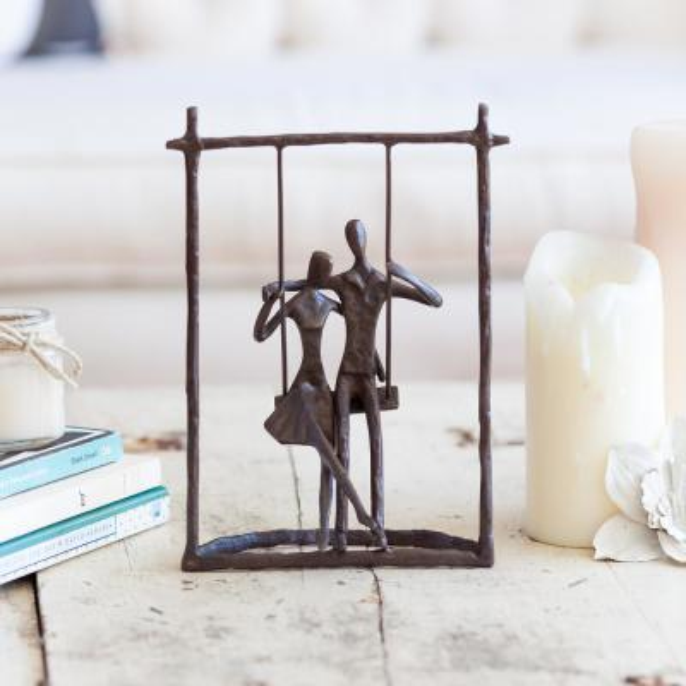 Couple on a Swing Cast Bronze Sculpture