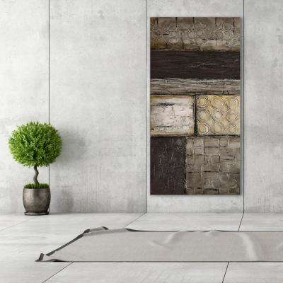 "30 in. x 60 in. ""Stacked 2"" Textured Metallic Hand Painted by Martin Edwards Wall Art"
