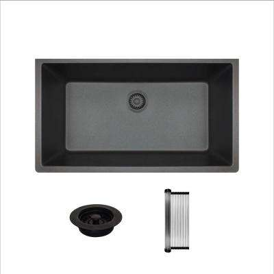 All-in-One Undermount Granite Composite 32-5/8 in. Single Bowl Kitchen Sink in Black
