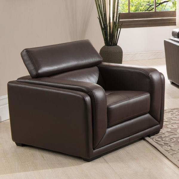 AC Pacific Calvin Dark Brown Modern Style Leather Living Room Arm