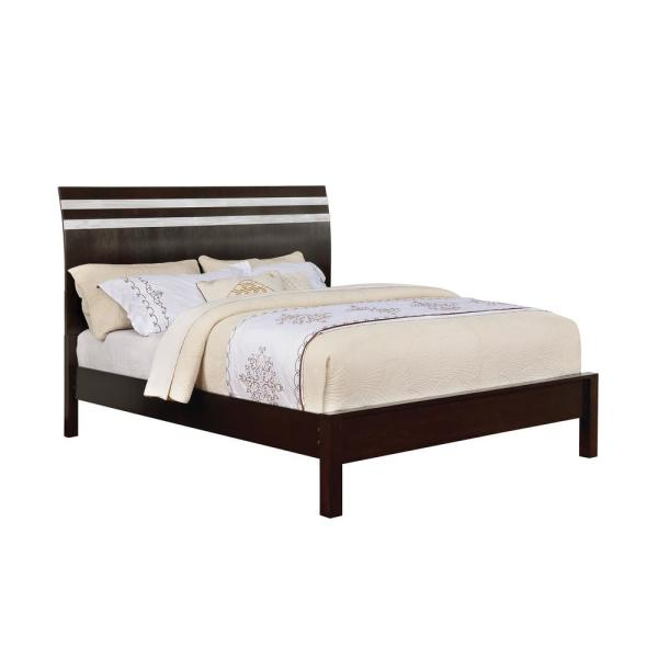 Euclid in Silver, Espresso California King Bed