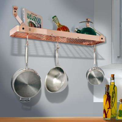 Handcrafted 36 in. Copper Gourmet Bookshelf Wall Rack with Alder Shelf with 12-Hooks Brushed Copper
