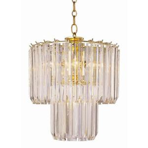 Bel Air Lighting Stewart 5-Light Polished Brass Chandelier with Beveled Acrylic Crystal Shades by Bel Air Lighting