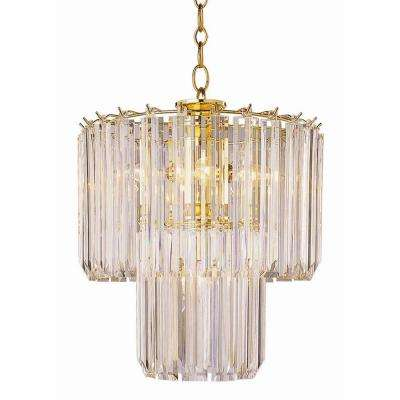 Stewart 5-Light Polished Brass Chandelier with Beveled Acrylic Crystal Shades