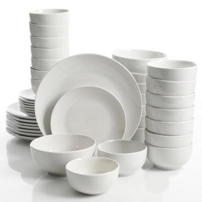 Camrose 40-Piece Casual White Ceramic Dinnerware Set (Service for 8)