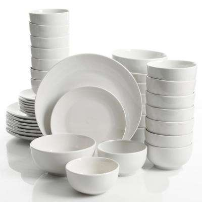 Camrose 40-Piece White Round Dinnerware Set