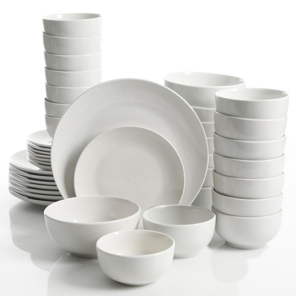 Camrose 40 Piece White Round Dinnerware Set by Gourmet Expressions