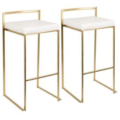 Fuji Gold and White Stackable Barstool (Set of 2)
