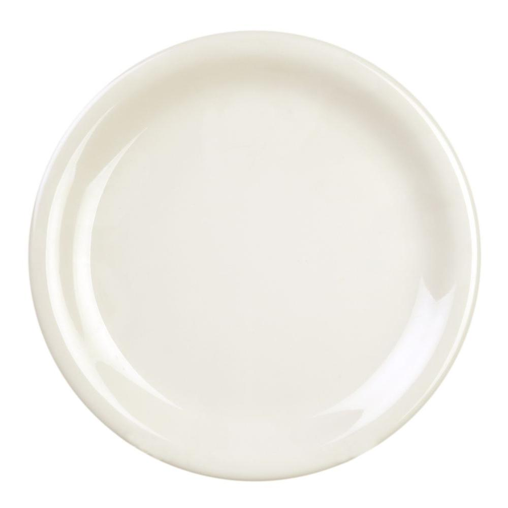 Coleur 10-1/2 in. Narrow Rim Plate in Ivory (12-Piece)