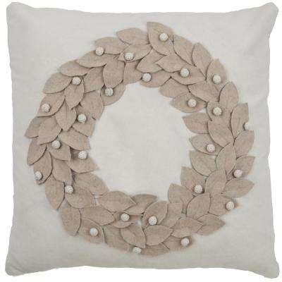 Ivory Cotton 18 in. X 18 in. Decorative Filled Throw Pillow