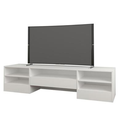 Rustik 72 in. White TV Stand with 1 Drawer Fits TVs up to 80 in. with Cable Management