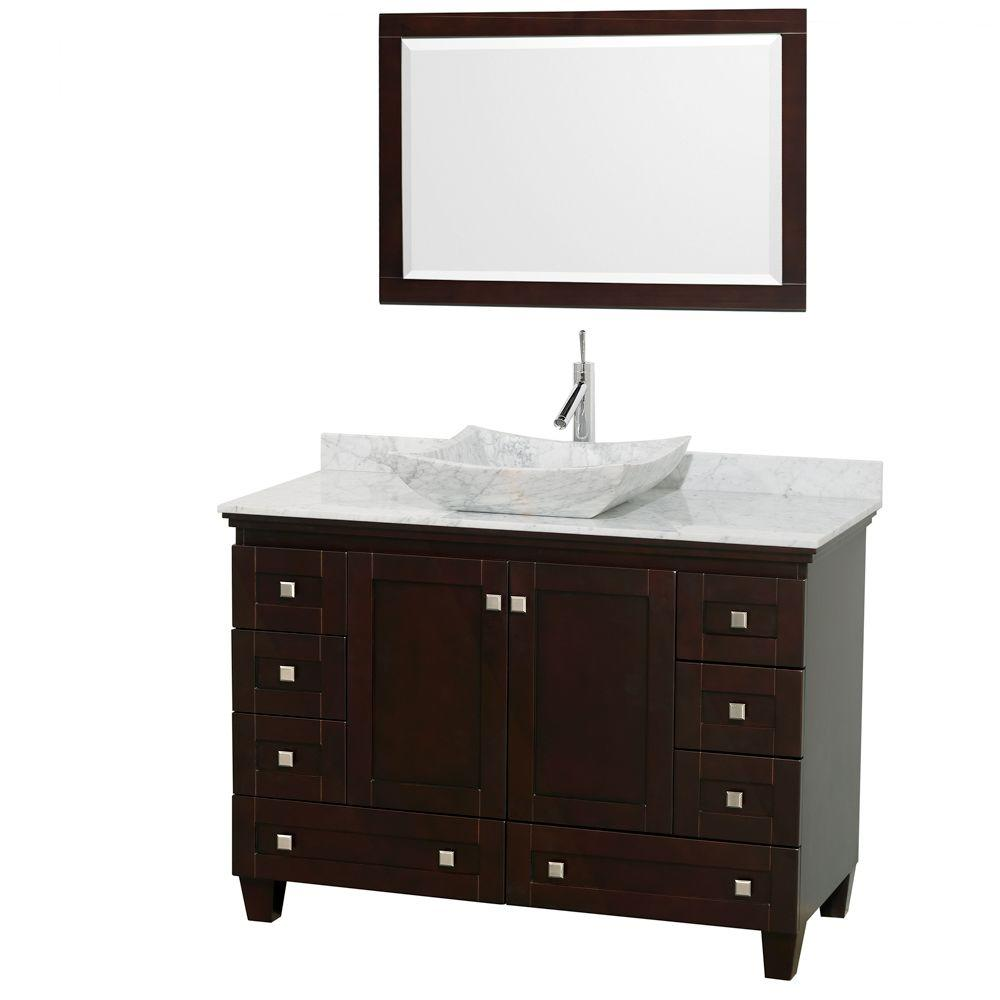 Wyndham Collection Acclaim 48 in. W Vanity in Espresso with Marble Vanity Top in Carrara White and White Carrara Marble Sink