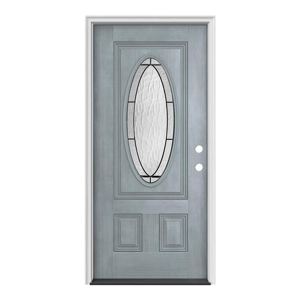 JELD-WEN 36 in. x 80 in. 3/4 Oval Lite Wendover Stone Stained Fiberglass Prehung Left-Hand Inswing Front Door