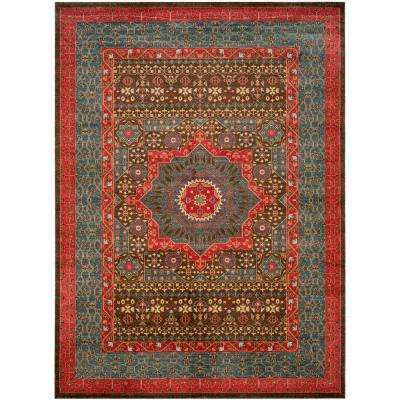 Mahal Navy/Red 9 ft. x 12 ft. Area Rug