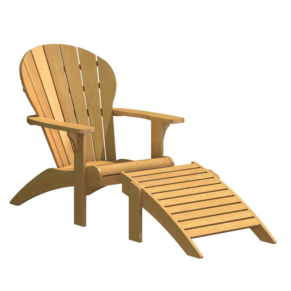 Swell Natural White Oak Wood Outdoor Adirondack Chair And Ottoman Creativecarmelina Interior Chair Design Creativecarmelinacom