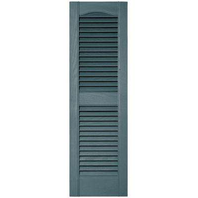 12 in. x 39 in. Louvered Vinyl Exterior Shutters Pair in #004 Wedgewood Blue