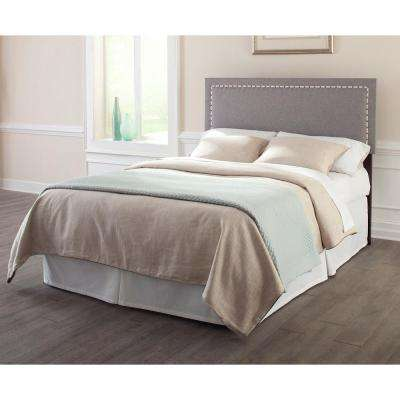 Wellford King/California King Upholstered Adjustable Headboard with Contrast Tape and Nailhead Trim in Jitterbug Ash