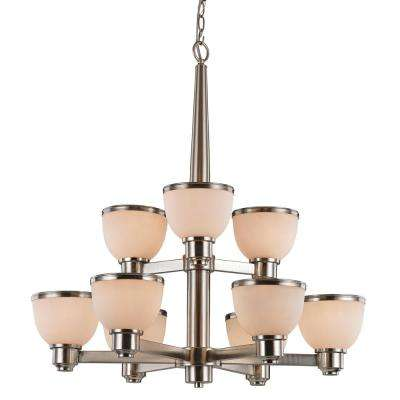 Pierce 9-Light Brushed Nickel Chandelier with Opal Shades