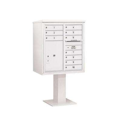 3400 Series 62-1/8 in. 9 Door High Unit White 4C Pedestal Mailbox with 10 MB1 Doors/1 PL6