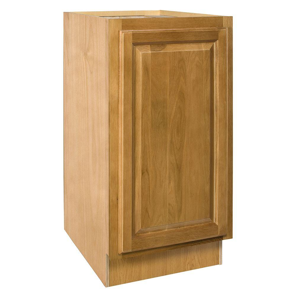 Home Decorators Collection Assembled 15x34.5x24 in. Base Cabinet with Single Pullout Wastebasket in Weston Light Oak
