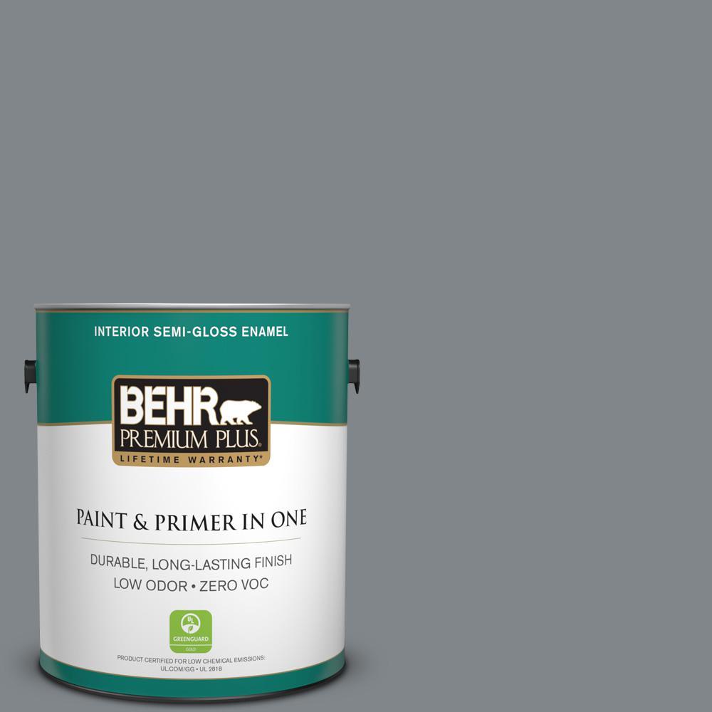 1 gal. #N500-5 Magnetic Gray Semi-Gloss Enamel Zero VOC Interior Paint