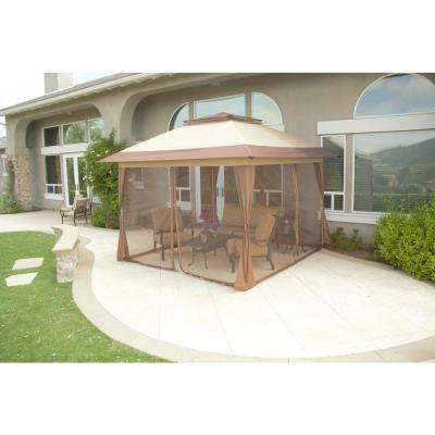 12 ft. x 12 ft. Stockton Brown Outdoor Patio Pop-Up Canopy with Netting