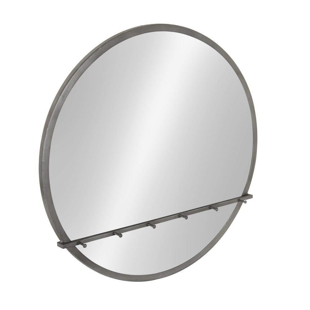 Oravo Wall Mounted Round Mirror with Hooks 24 x 24 Silver
