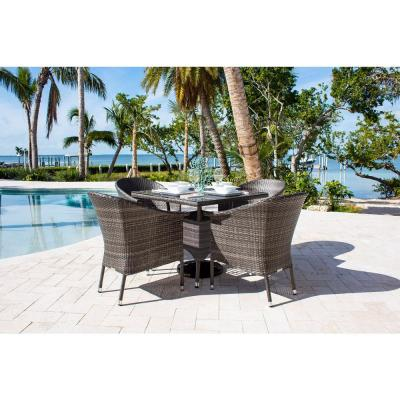 Ultra Gray 5-Piece Wicker Outdoor Dining Set with Off-White Cushions
