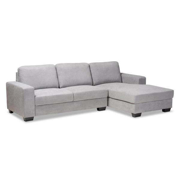 Baxton Studio Nevin Light Gray Fabric Sectional with Right Facing Chaise