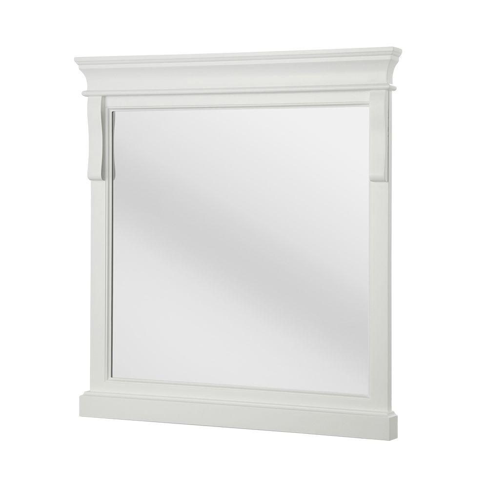 Home Decorators Collection Naples 30 In X 32 Framed Wall Mirror White