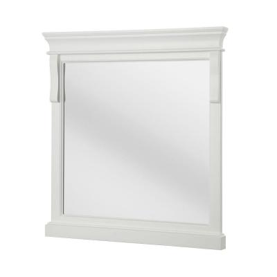 30 in. W x 32 in. H Framed Rectangular  Bathroom Vanity Mirror in White
