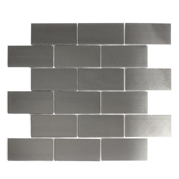 ABOLOS Mosaic 2'' x 4'' Rectangle Silver Stainless Steel Peel &