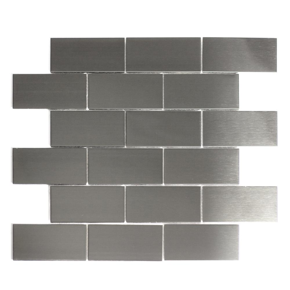 Abolos Silver Mosaic 2 In X 4 In Stained Stainless Steel