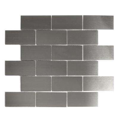 Silver Mosaic 2 in. x 4 in. Stained Stainless Steel Mesh Mounted Decorative Bathroom Wall Backsplash Tile (1 Sq. ft.)