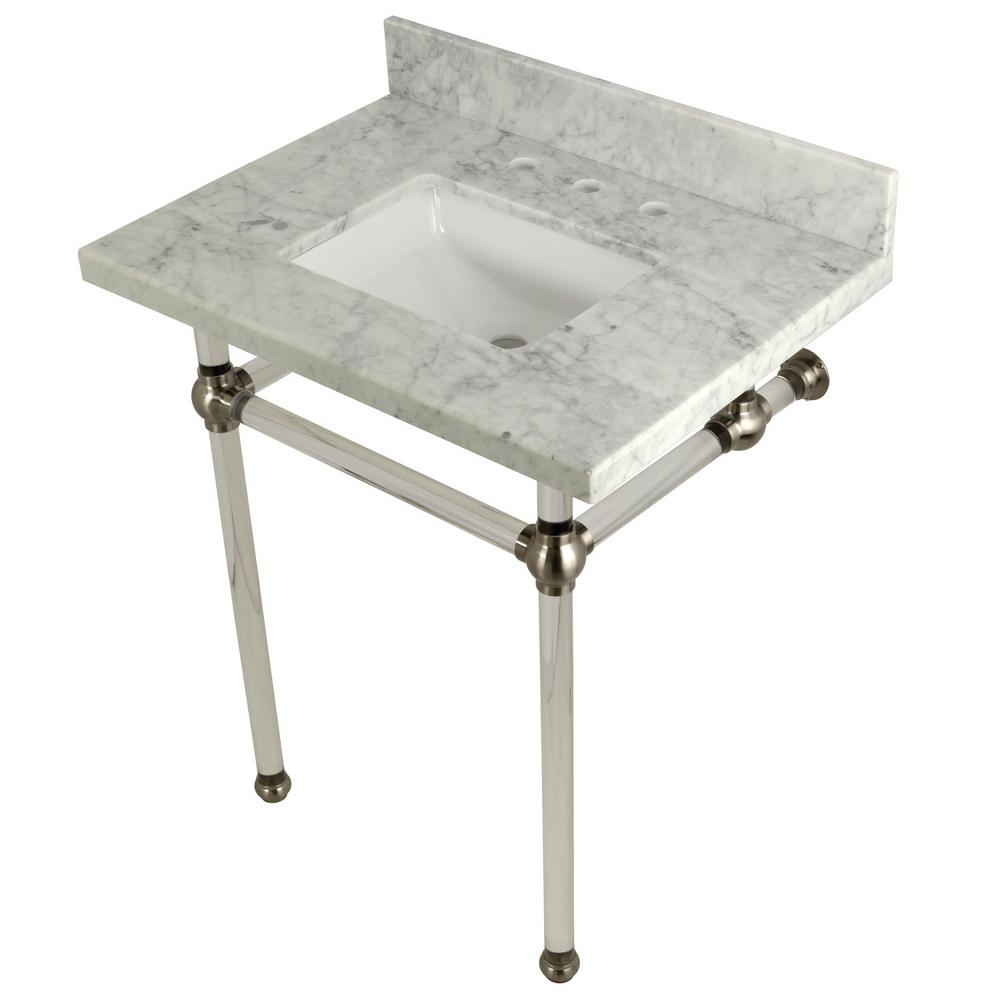 Square Sink Washstand 30 in. Console Table in Carrara Marble with
