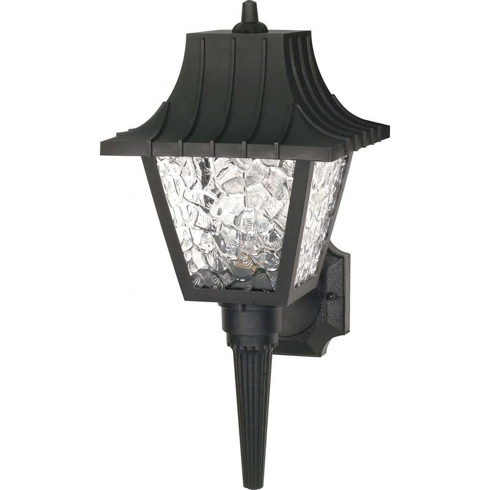 Glomar tony 1 light black outdoor wall mount sconce cli sc778520 the home depot for Black exterior sconce