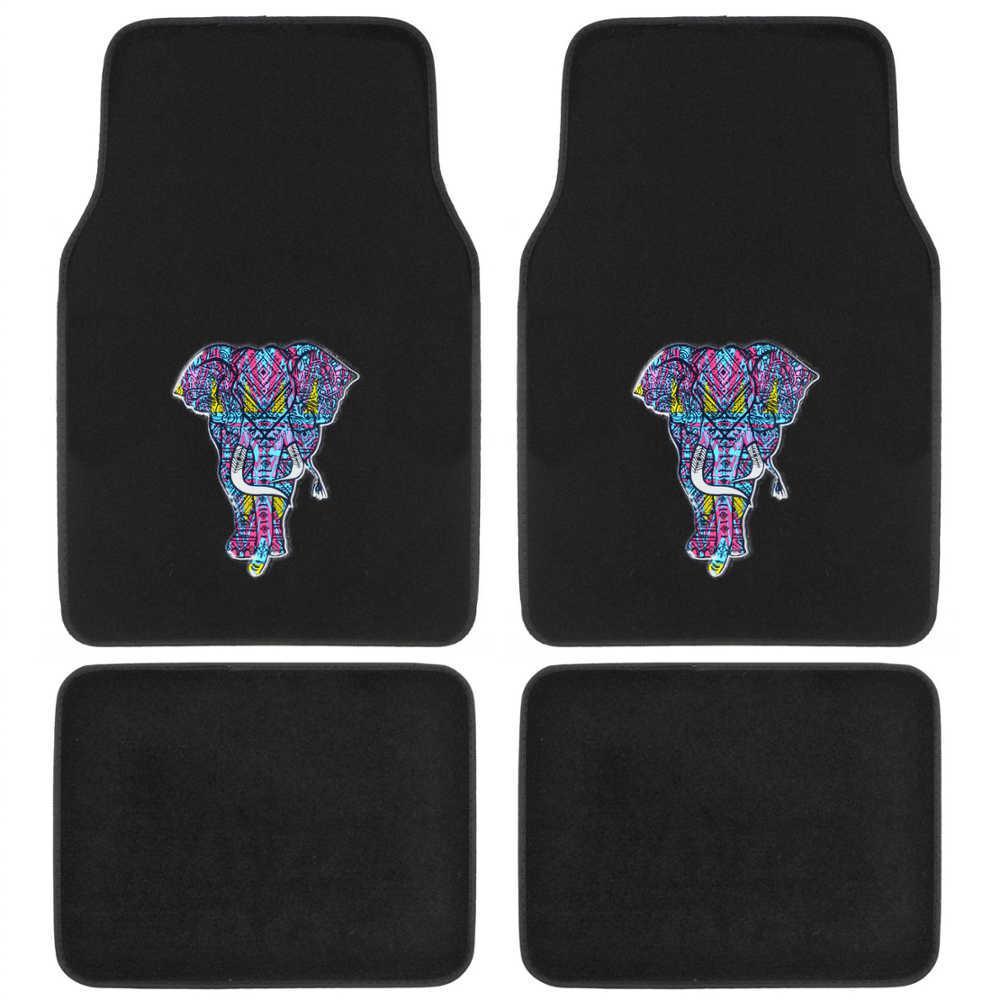 BDK Embossed Trippy Elephant MT-542 Design 4 Pieces Carpet Car Floor Mats by BDK