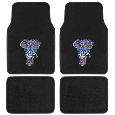 Embossed Trippy Elephant MT-542 Design 4 Pieces Carpet Car Floor Mats