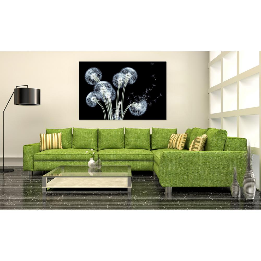 "32 in. x 48 in.""Dancing Dandelions"" Frameless Free Floating Tempered Glass"
