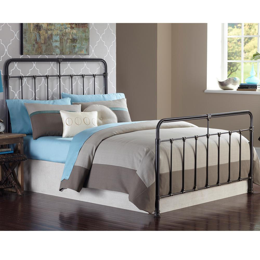 Fairfield Dark Roast Twin-Size Complete Bed with Metal Duo Panels and
