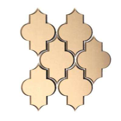 Reflections Gold Beveled Small Lantern Arabesque Mosaic 4 in. x 6 in. Glass Mirror Mesh Mounted Wall Tile (0.51 Sq. ft.)