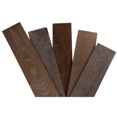 5/8in x 5-1/2in x 48in Rustic Grey/Brown Pine Solid Wood Wall Paneling