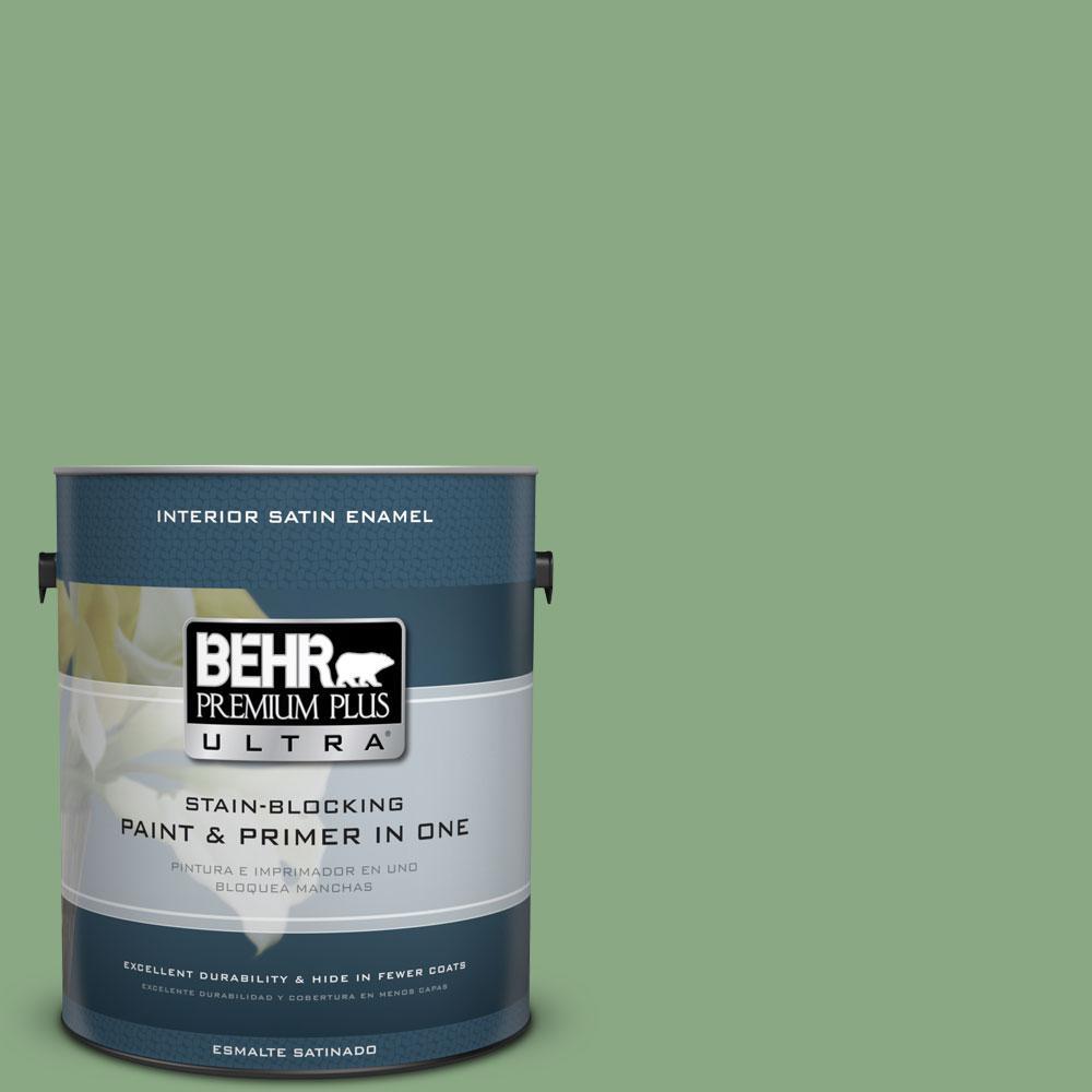 BEHR Premium Plus Ultra 1-gal. #M400-5 Baby Spinach Satin Enamel Interior Paint