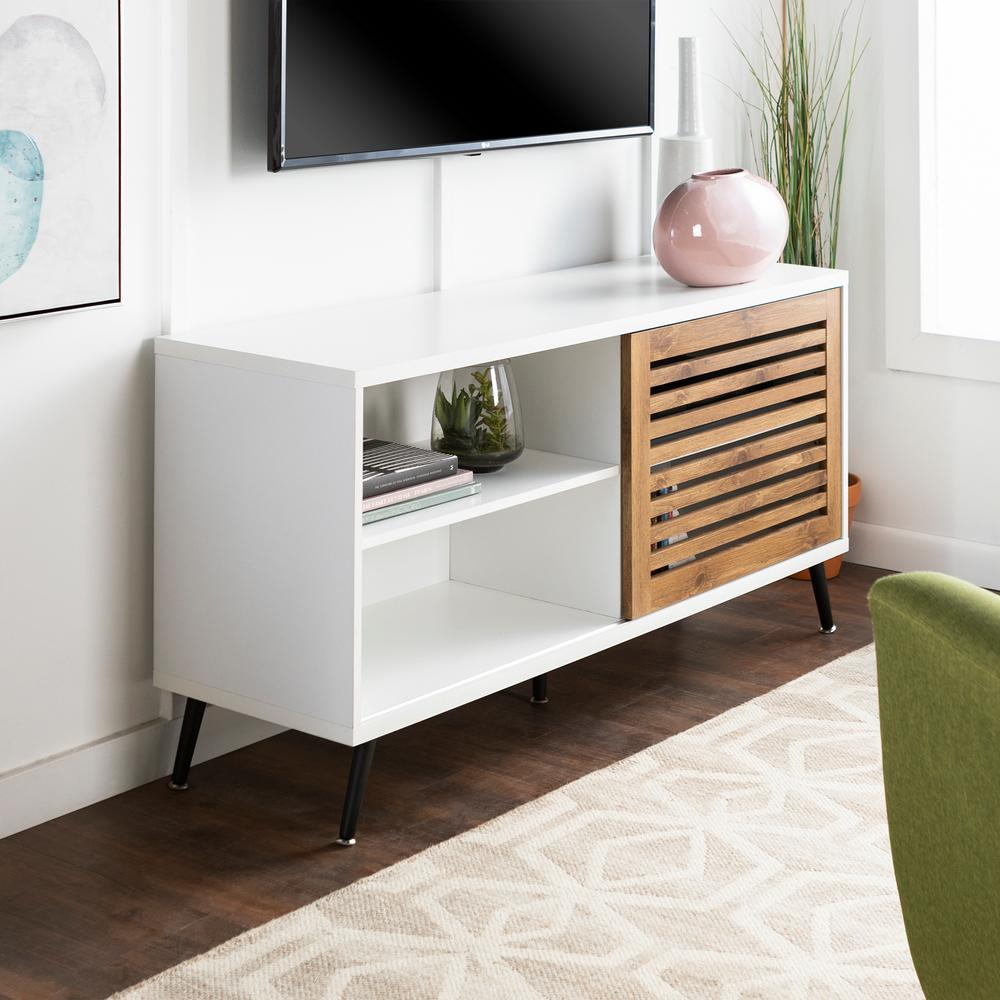 separation shoes fc542 3bf9f 52 in. White and Barnwood Sliding Door TV Console Media ...
