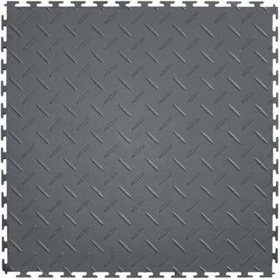 Diamond Plate 1.71 ft. Width x 1.71 ft. Length Dark Gray PVC Garage Flooring
