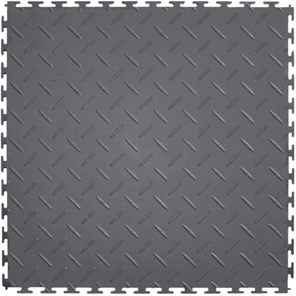 supreme garage tiles diamond plate 171 ft width x 171 ft length dark gray - Garage Tiles