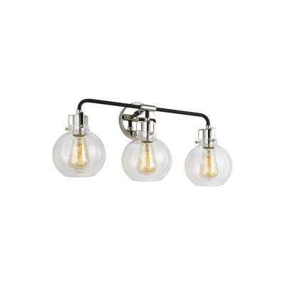 Clara 24 in. 3-Light Polished Nickel Vanity Light with Clear Seeded Glass