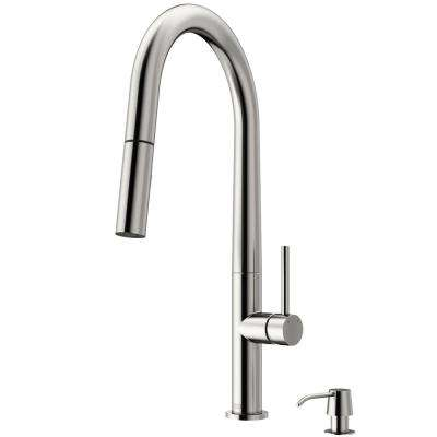 Greenwich Single-Handle Pull-Down Sprayer Kitchen Faucet with Soap Dispenser in Stainless Steel