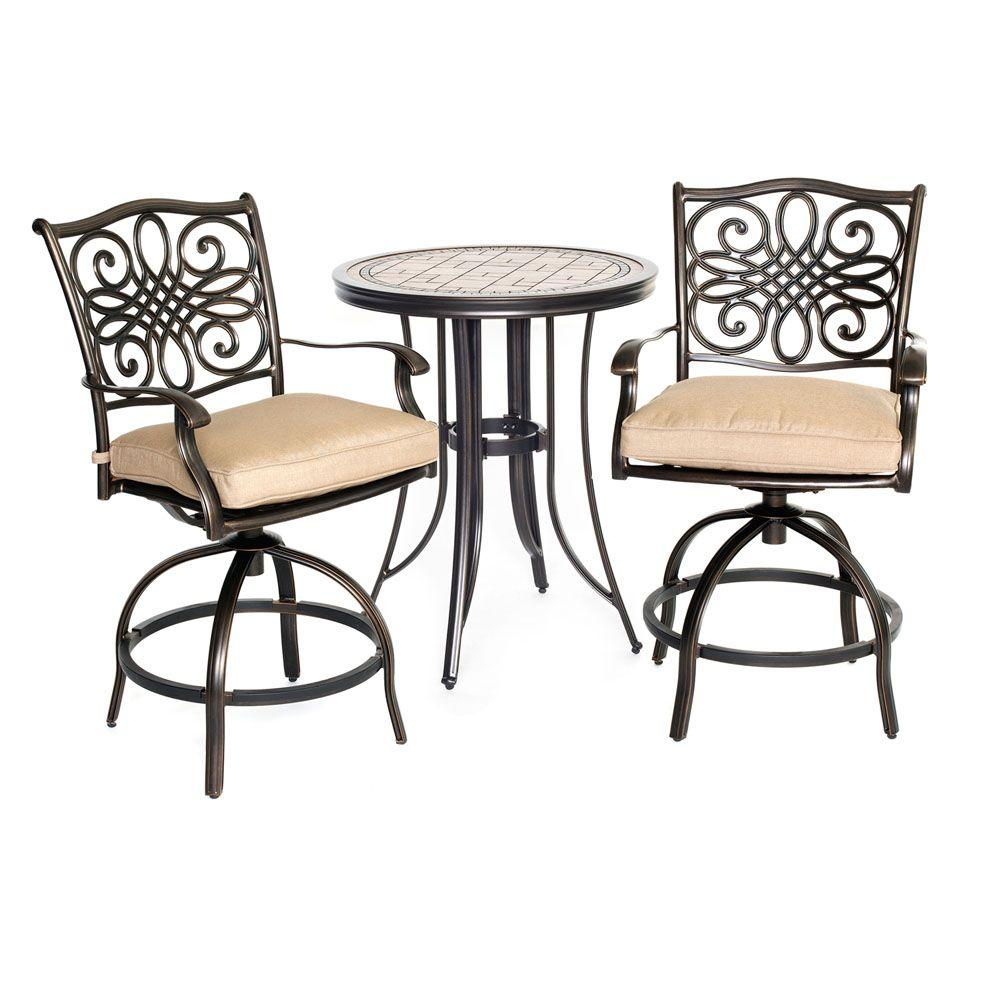hanover monaco 3 piece metal round patio bistro set with natural oat cushions mondn3pcsw br. Black Bedroom Furniture Sets. Home Design Ideas