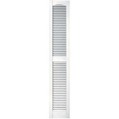 12 in. x 67 in. Louvered Vinyl Exterior Shutters Pair in #117 Bright White